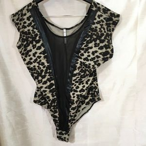 Black Mesh Leopard Shortsleeve Bodysuit
